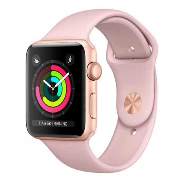 Умные часы Apple Watch Series 3 38mm Gold Aluminum Case with Pink Sand Sport Band (MQKW2)