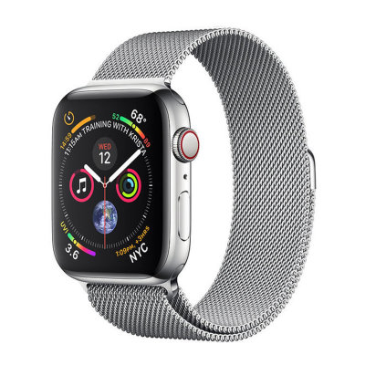 Умные часы Apple Watch Series 4 GPS+LTE 44mm Stainless Steel Case with Milanese Loop (MTV42)
