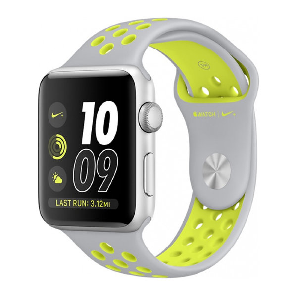 Умные часы Apple Watch Series 2 Nike+ 42mm Silver Aluminum Case with Flat Silver/Volt Nike Sport Band (MNYQ2)