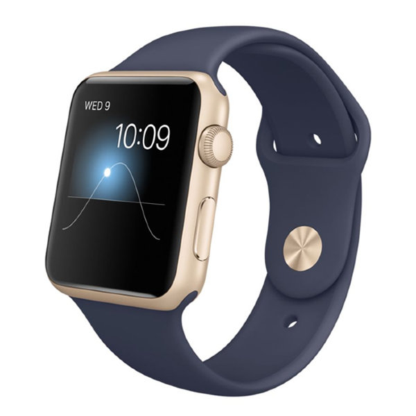 Умные часы Apple Watch Sport 42mm Gold Aluminum Case with Midnight Blue Sport Band (MLC72)