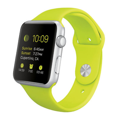 Умные часы Apple Watch Sport 42mm Silver Aluminum Case with Green Sport Band (MJ3P2)