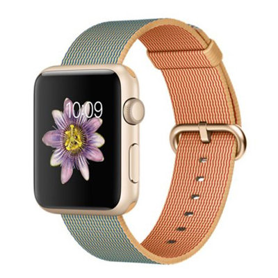 Умные часы Apple Watch Sport 42mm Gold Aluminum Case with Gold/Royal Blue Woven Nylon (MMFQ2)