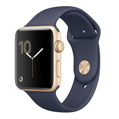 Умные часы Apple Watch Series 2 42mm Gold Aluminum Case with Midnight Blue Sport Band (MQ152)
