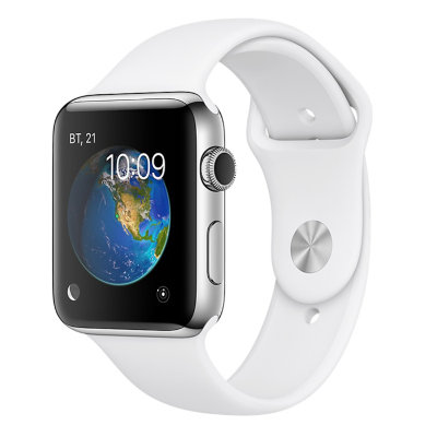 Умные часы Apple Watch Series 2 42mm Silver Aluminum Case with White Sport Band (MNPJ2)