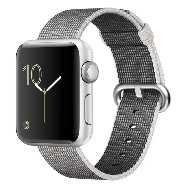 Умные часы Apple Watch Series 2 38mm Silver Aluminium Case with Pearl Woven Nylon Band (MNNX2)