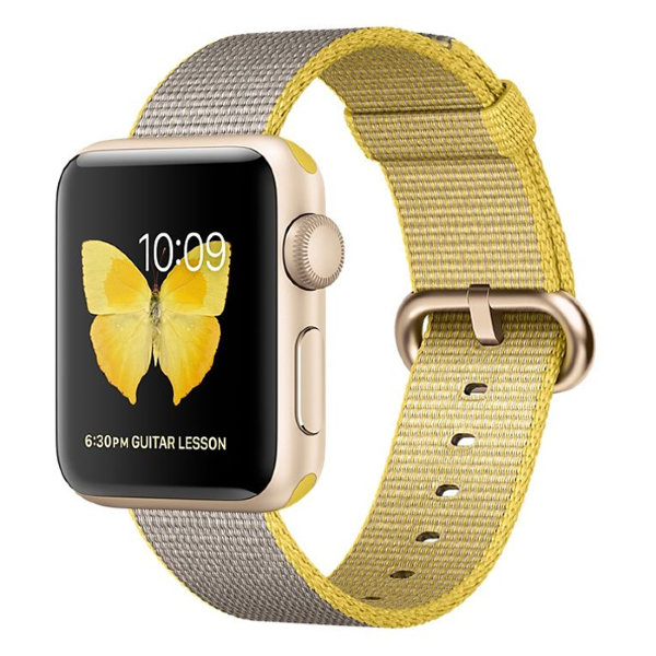 Умные часы Apple Watch Series 2 38mm Gold Aluminium Case with Yellow/Light Grey Woven Nylon Band (MNP32)