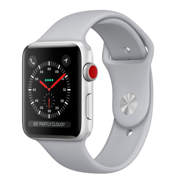 Умные часы Apple Watch Series 3 Cellular 38mm Silver Aluminum Case with Fog Sand Sport Band (MQJN2)