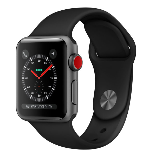 Умные часы Apple Watch Series 3 Cellular 38mm Space Gray Aluminum Case with Black Sport Band (MQJP2)