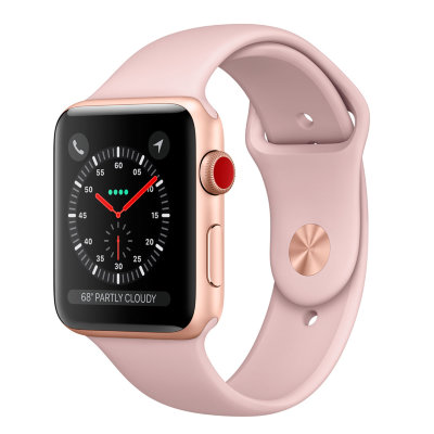 Умные часы Apple Watch Series 3 Cellular 42mm Gold Aluminum Case with Pink Sand Sport Band (MQK32)