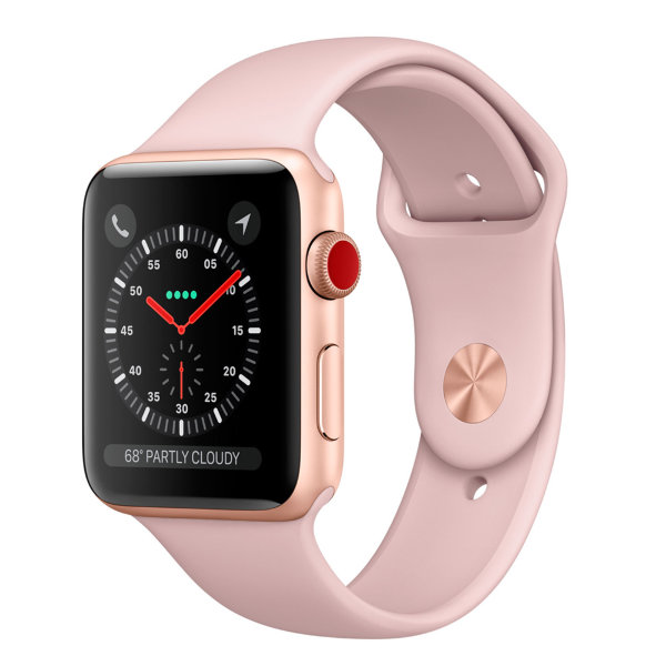 Умные часы Apple Watch Series 3 Cellular 38mm Gold Aluminum Case with Pink Sand Sport Band (MQJQ2)