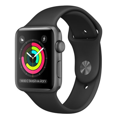 Умные часы Apple Watch Series 1 Sport 42mm Space Grey Aluminium Case with Black Sport Band (MP032)