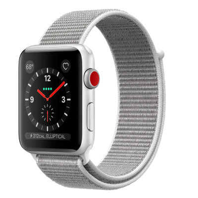 Умные часы Apple Watch Series 3 Cellular 42mm Silver Aluminum Case with Seashell Sport Loop (MQK52)