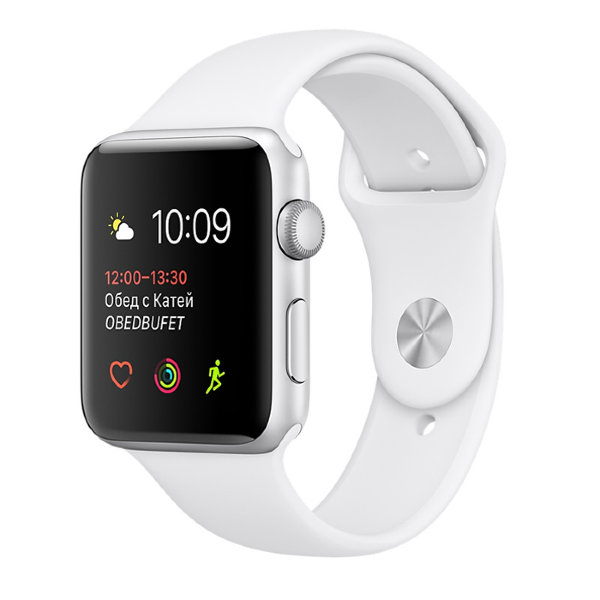 Умные часы Apple Watch Series 1 Sport 42mm Silver Aluminium Case with White Sport Band (MNPJ2)