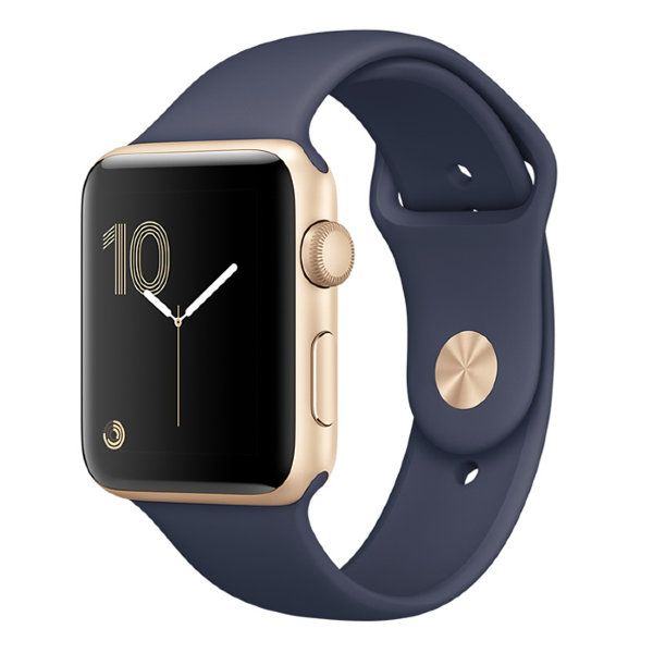 Умные часы Apple Watch Series 1 Sport 38mm Gold Aluminium Case with Midnight Blue Sport Band (MQ102)