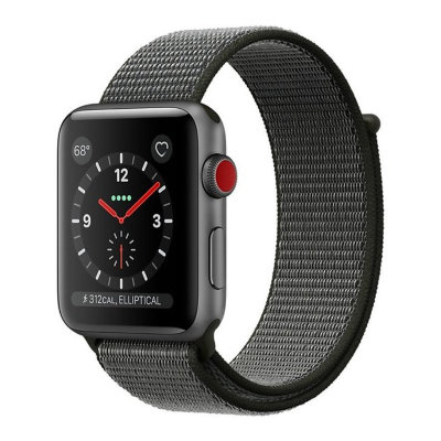 Умные часы Apple Watch Series 3 Cellular 42mm Space Gray Aluminum Case with Dark Olive Sport Loop (MQK62)