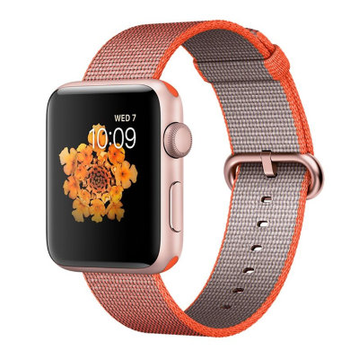 Умные часы Apple Watch Series 2 42mm Rose Gold Aluminium Case with Orange/Anthracite Woven Nylon Band (MNPM2)