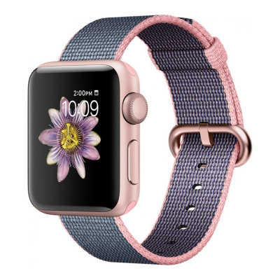 Умные часы Apple Watch Series 2 38mm Rose Gold Aluminium Case with Light Pink/Midnight Blue Woven Nylon Band (MNP02)