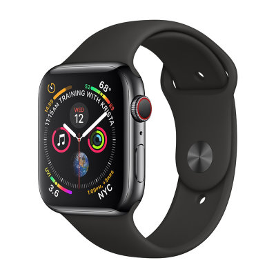 Умные часы Apple Watch Series 4 GPS+LTE 44mm Space Black Stainless Steel Case with Black Sport Band (MTX22)