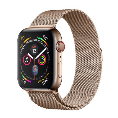 Умные часы Apple Watch Series 4 GPS+LTE 44mm Gold Stainless Steel Case with Gold Milanese Loop (MTV82)