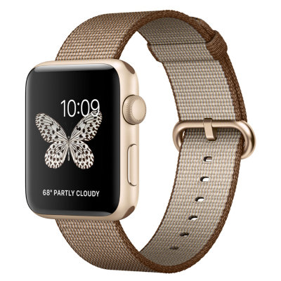 Умные часы Apple Watch Series 2 42mm Gold Aluminium Case with Toasted Coffee/Caramel Woven Nylon Band (MNPP2)