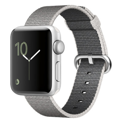 Умные часы Apple Watch Series 2 42mm Silver Aluminium Case with Pearl Woven Nylon Band (MNPK2)