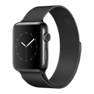 Умные часы Apple Watch Series 2 42mm Space Black Stainless Steel Case with Space Black Milanese Loop (MNQ12)