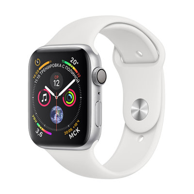 Умные часы Apple Watch Series 4 GPS 44mm Silver Aluminum Case with White Sport Band (MU6A2)